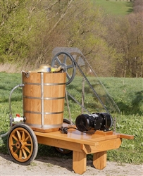 Electric 20 quart/5 gallon ice cream maker with white oak tub.  It is mounted on a white oak cart with an electric motor , switch, 6 foot cord and 1/2 HP electric motor.